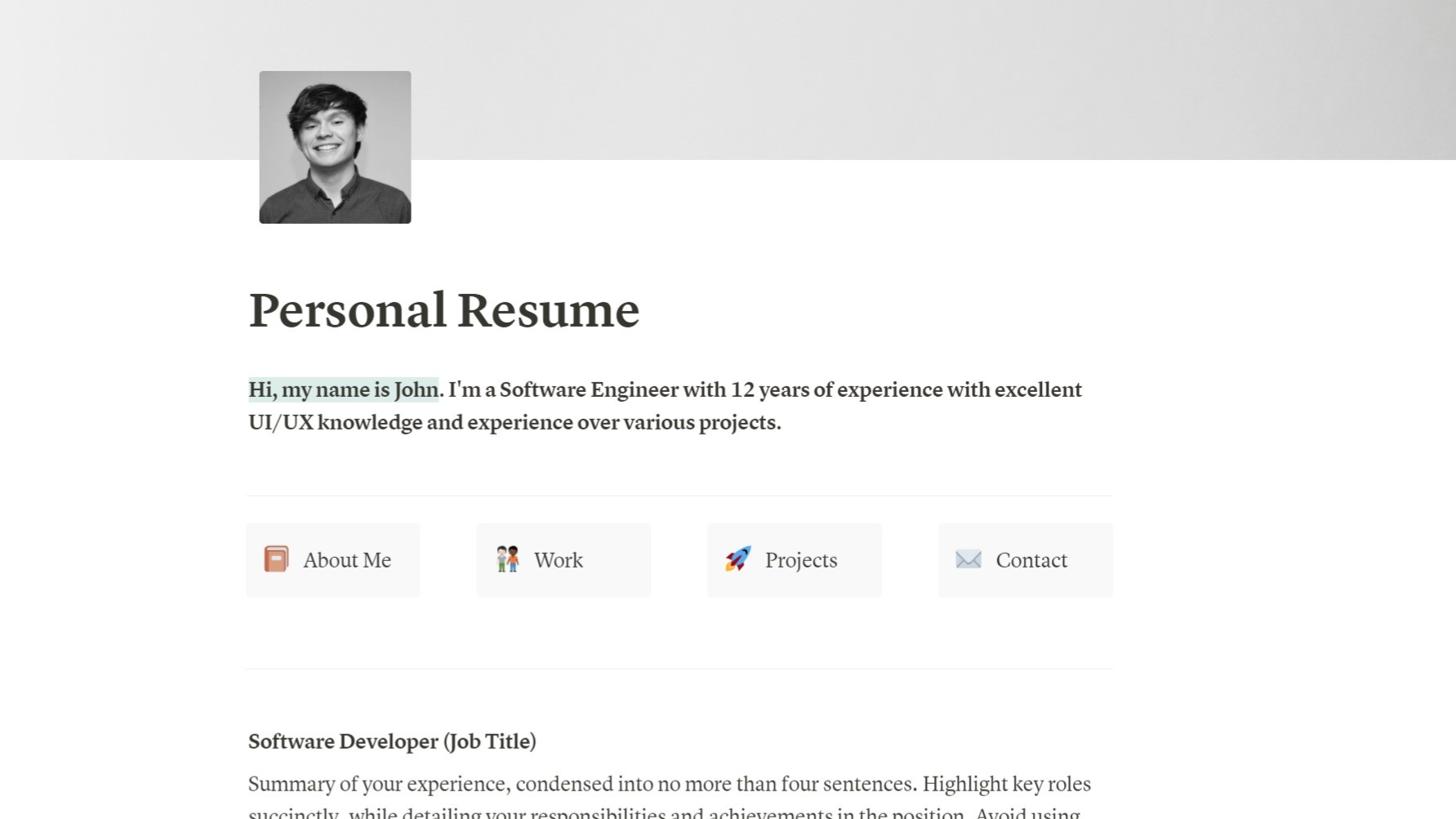 AppSumo Deal for Personal Resume - Notion Template