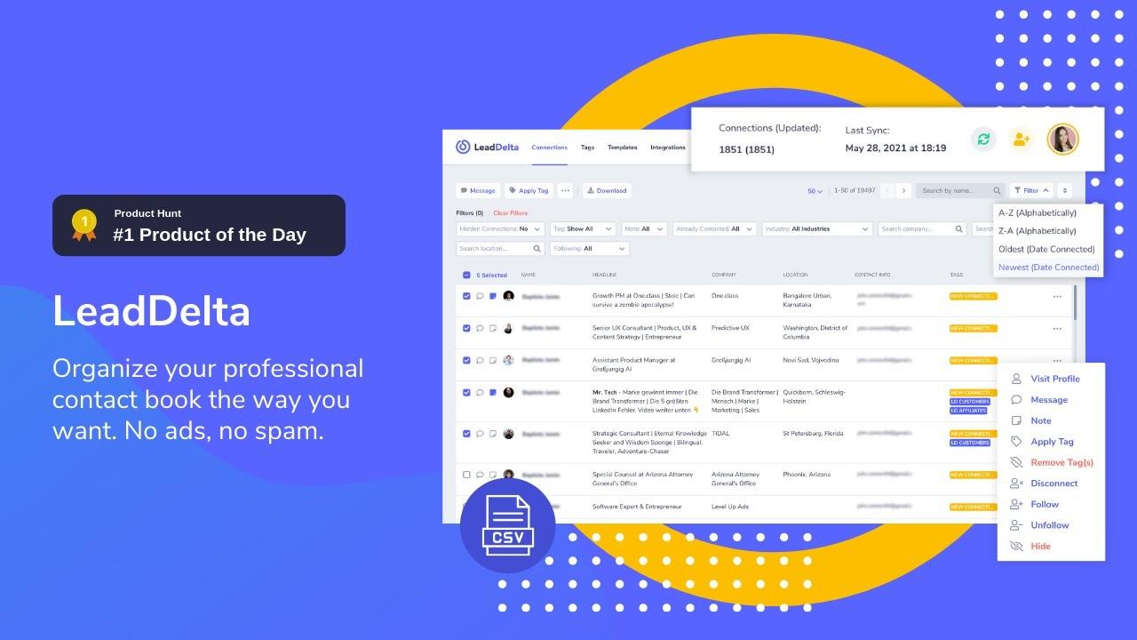AppSumo Deal for LeadDelta+ LinkedIn connections manager built for entrepreneurs