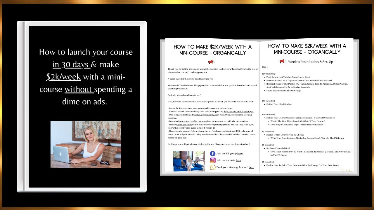 AppSumo Deal for Ebook: How to Launch Your Course in 30 Days & Make $2K/Week With a Mini-Course Without Spending a Dime on Ads