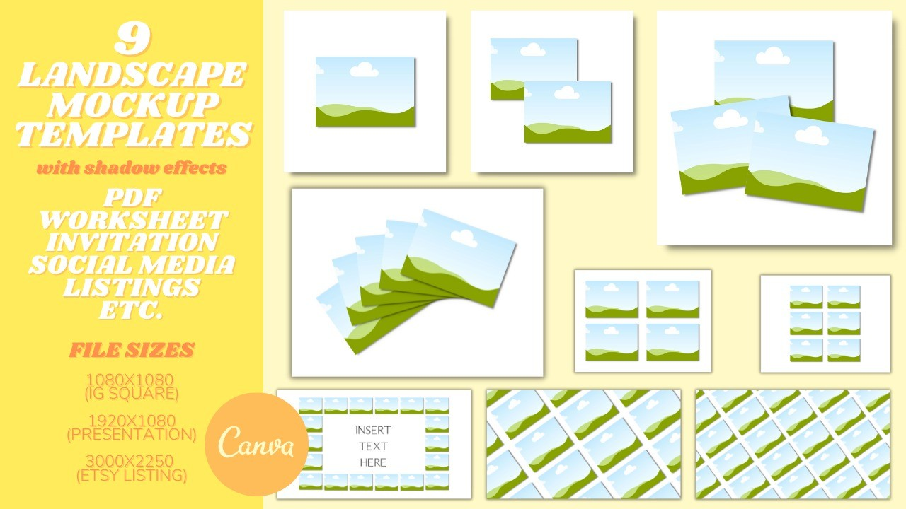 AppSumo Deal for 9 Landscape Mockup Templates with Drop Shadow Effect Editable in Canva: Perfect for PDF, Worksheet, Invitation, Etsy Listing, Social Media Templates