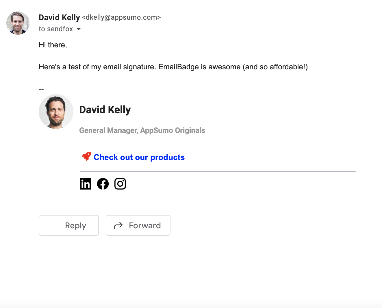 Preview email with email signature