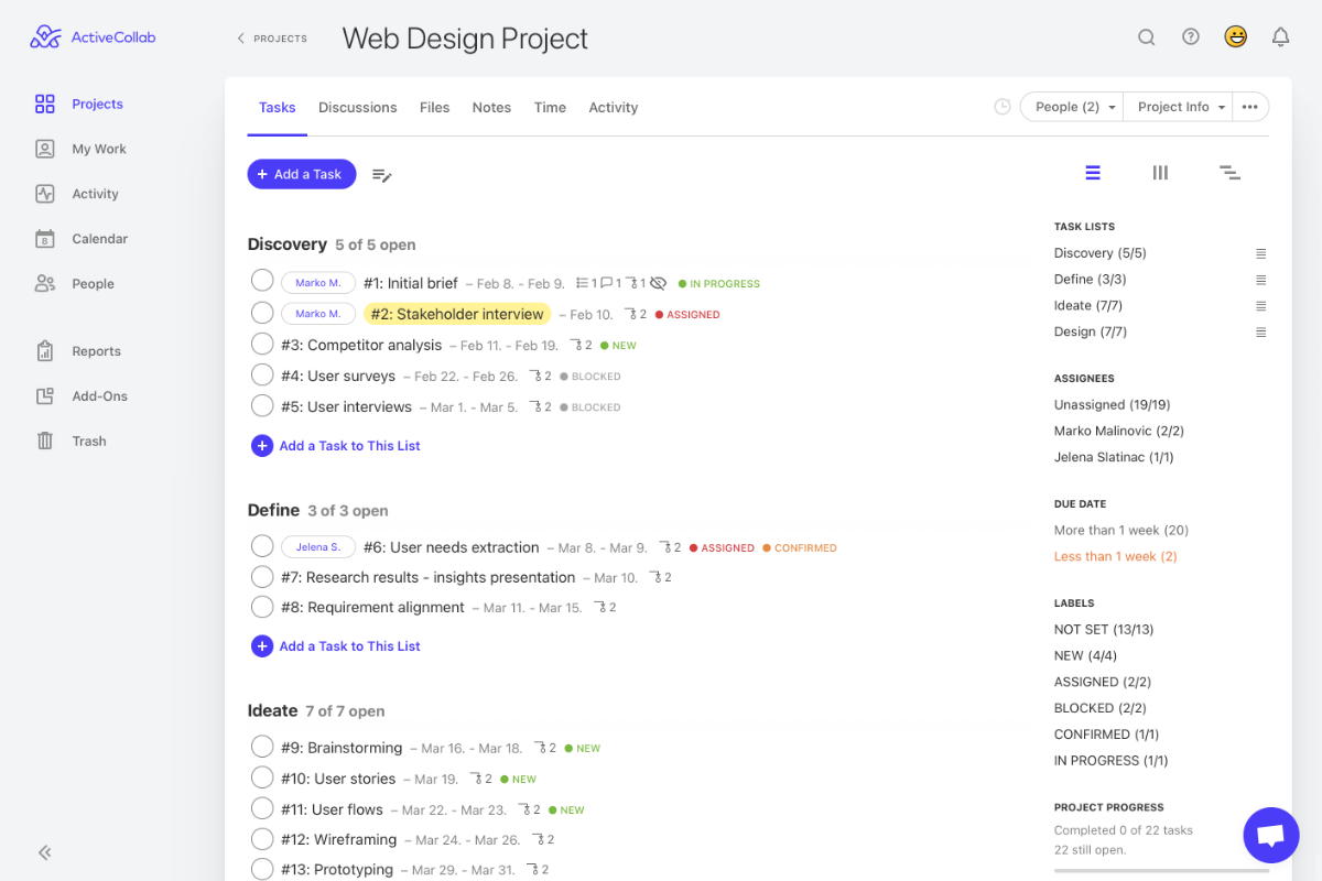 Project task overview