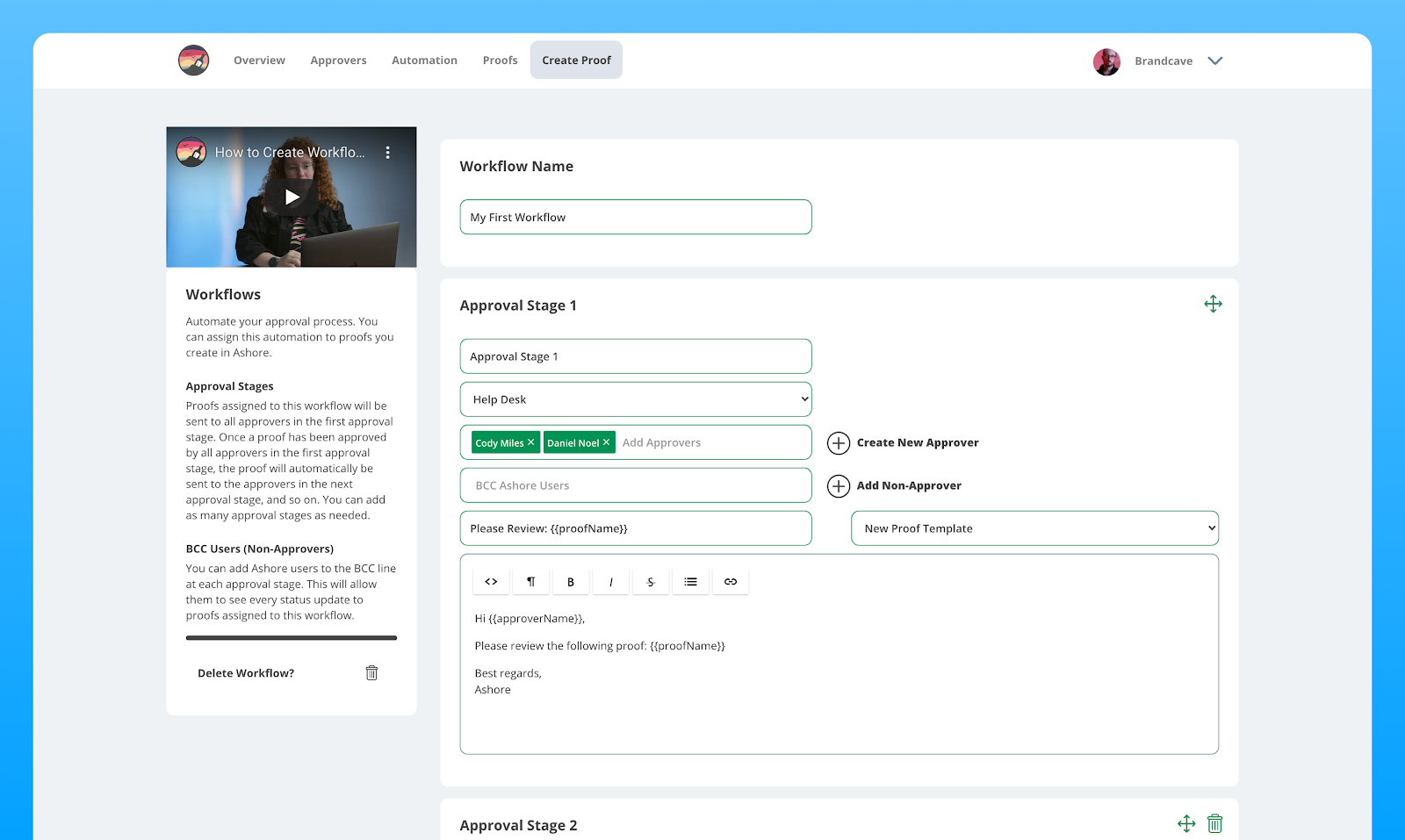 Workflow approval screen