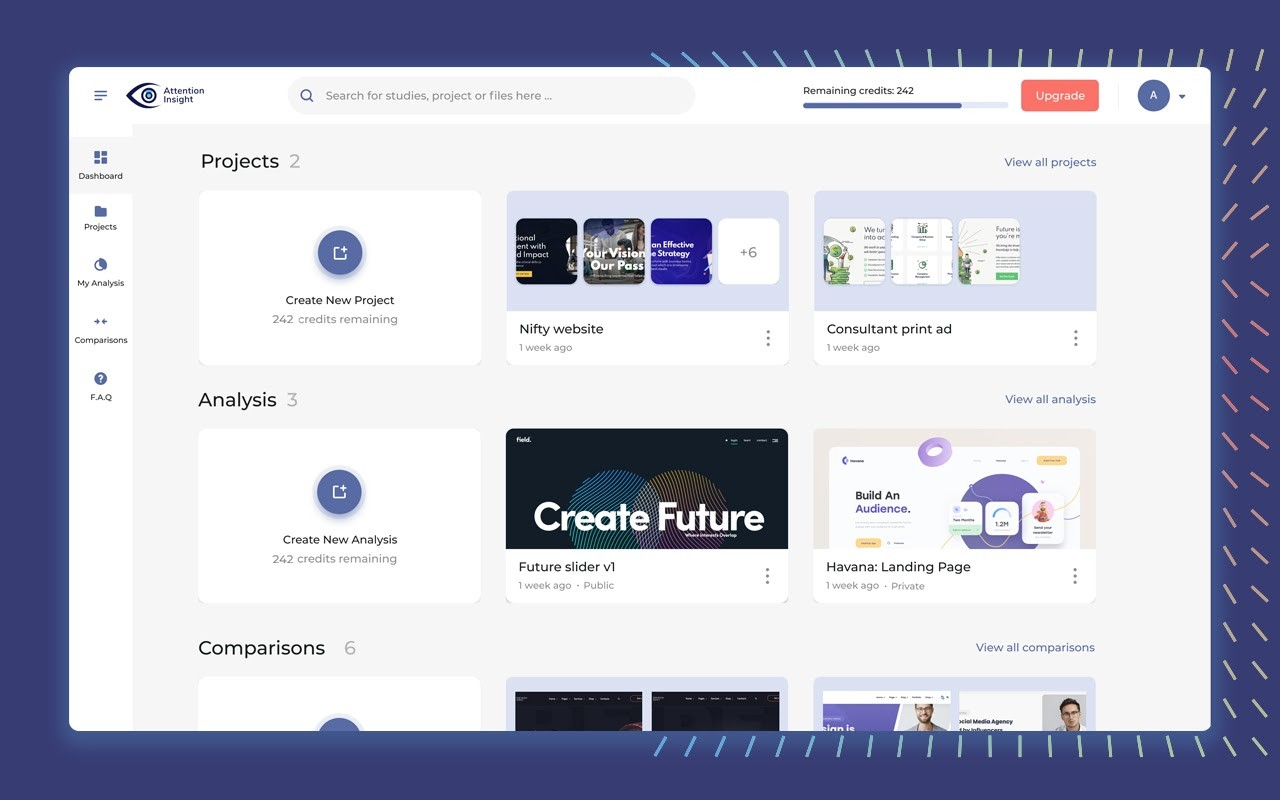 Dashboard with various projects