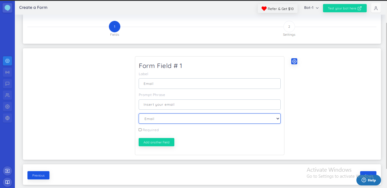 Application form collection fields