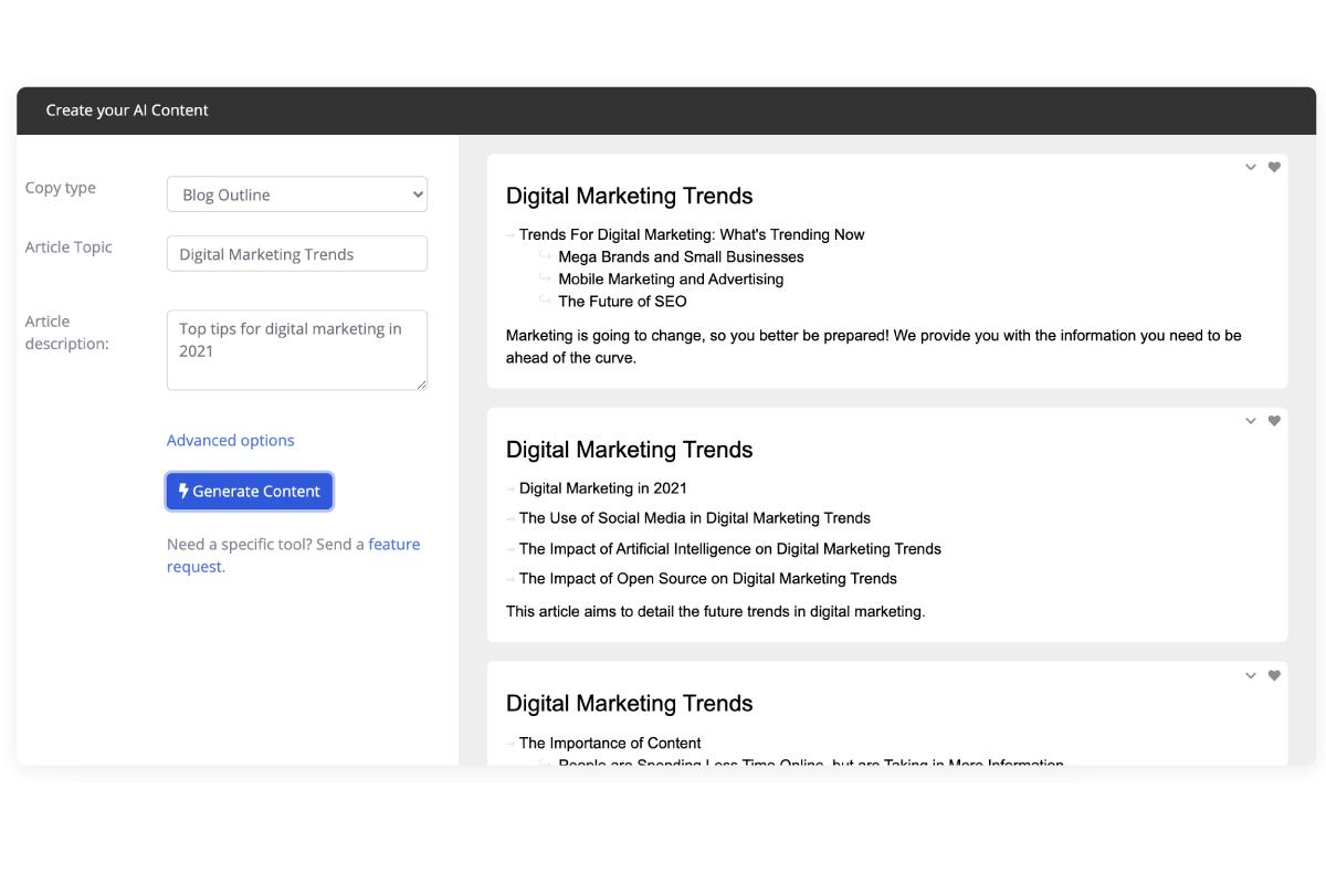 Screen for generating blog outline copy