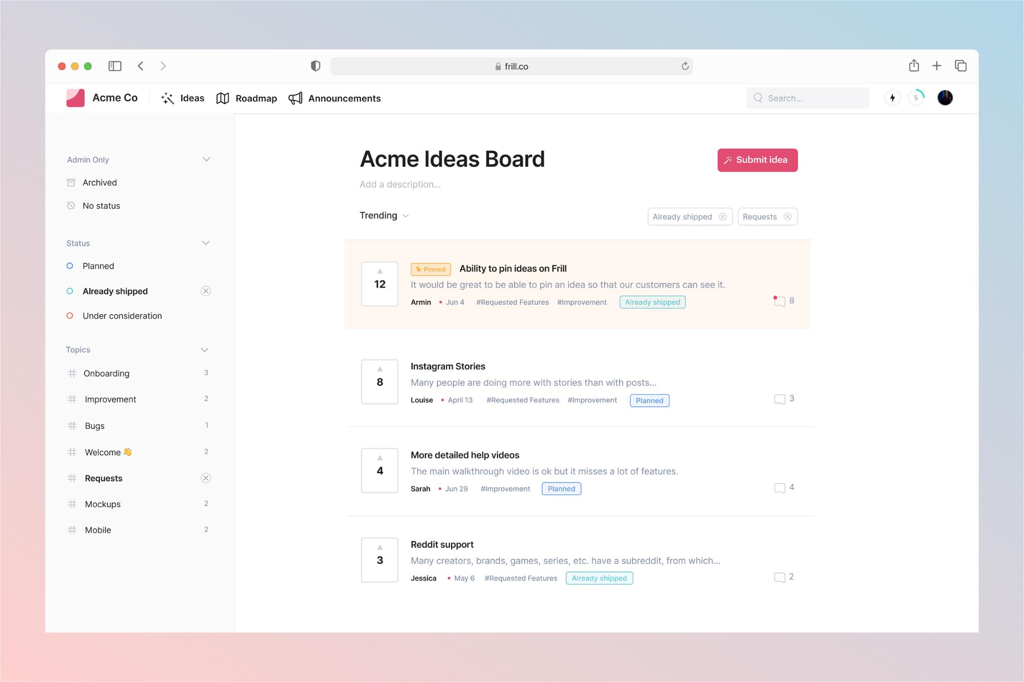 Customer feedback dashboard