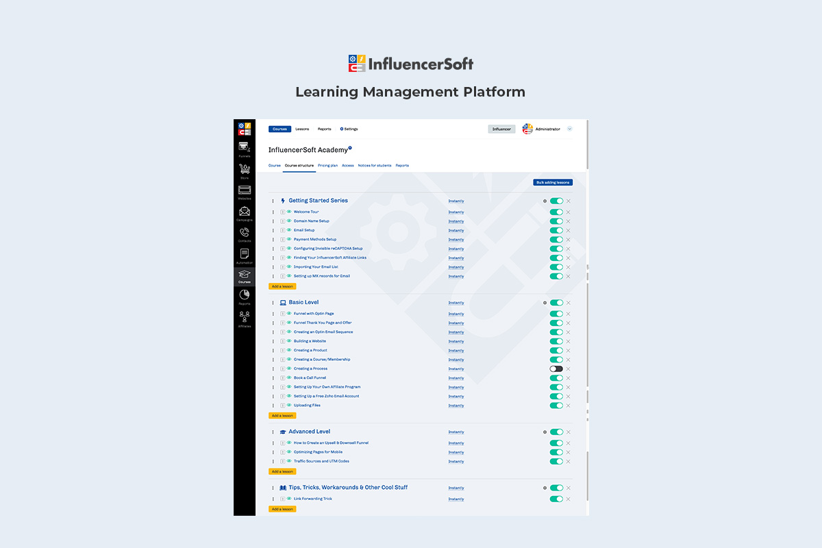 Learning management system with course modules