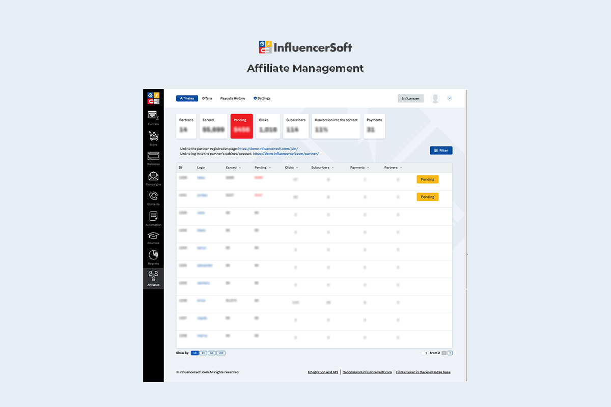 Affiliate management dashboard