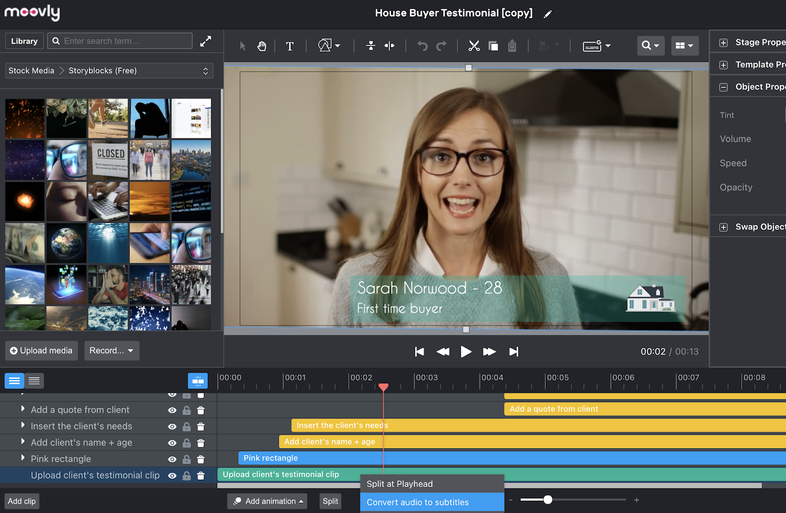 Footage in video editor with option to convert audio to subtitles