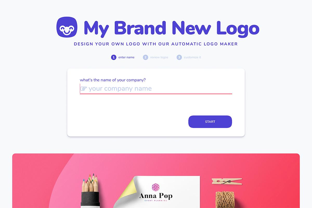 Company name screen for logo maker
