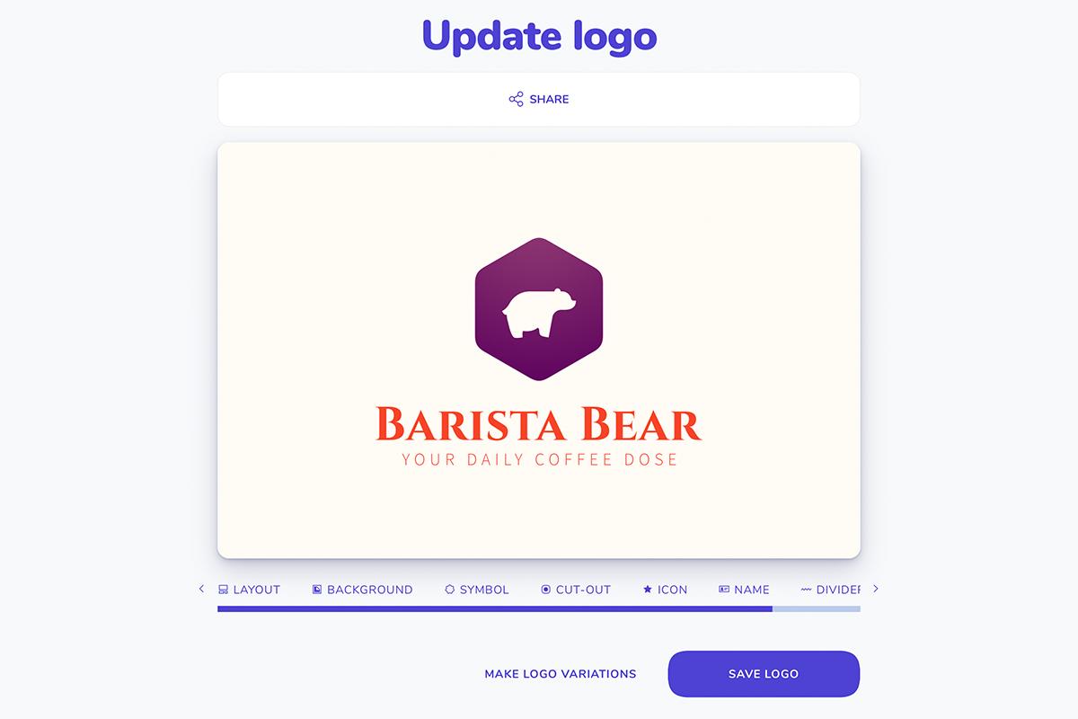 Screen for making logo variations in the logo maker
