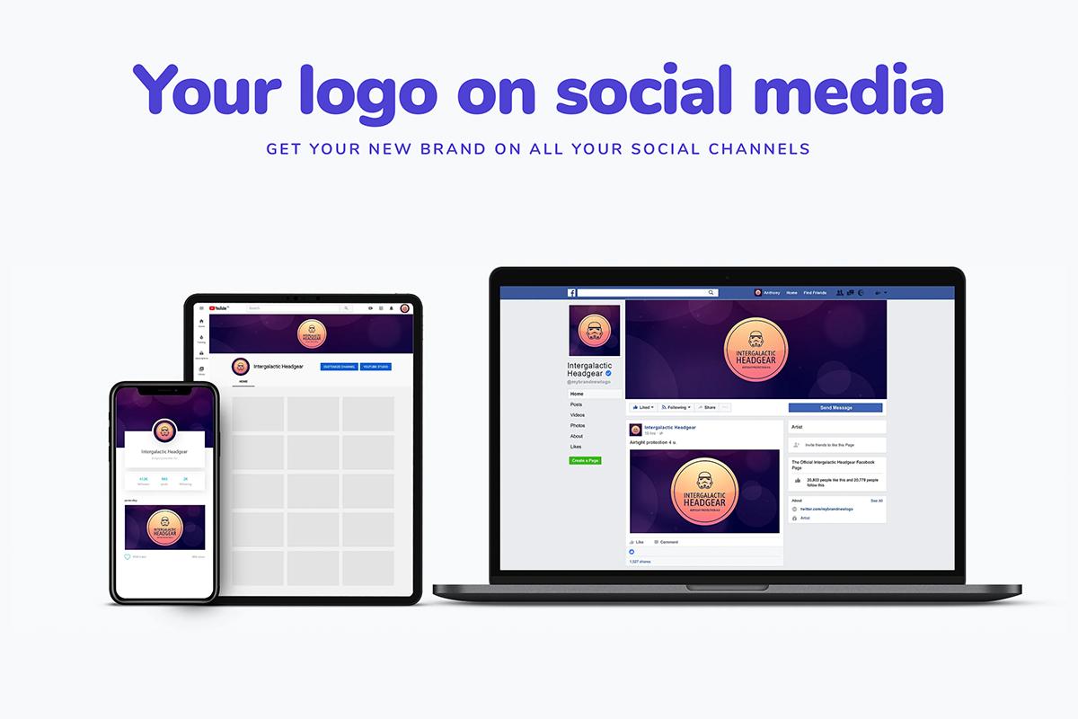 Resized logos for different social media platforms