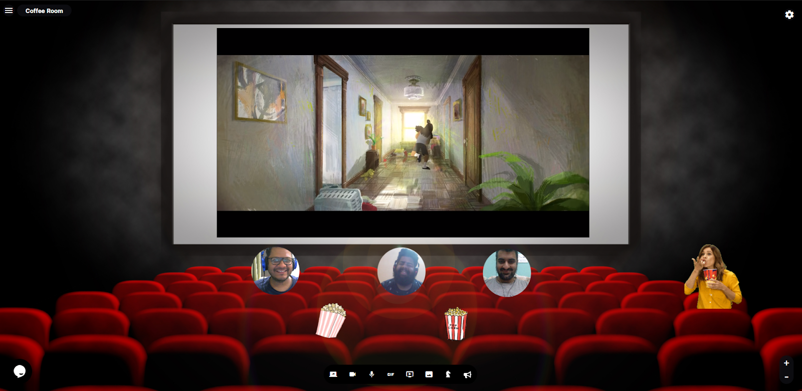 Reslash room with movie playing in theater background