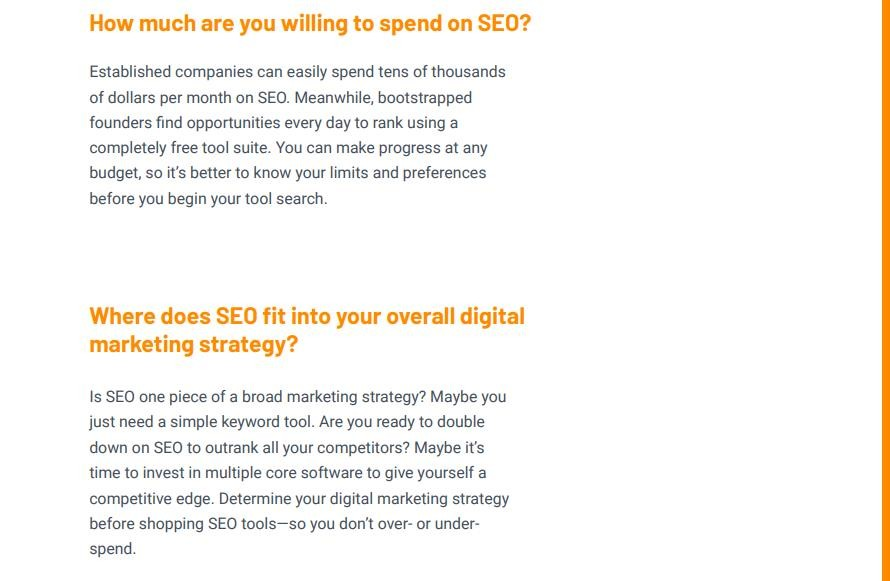 Text showing SEO tool criteria questions