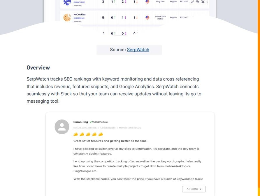 SerpWatch description preview with review