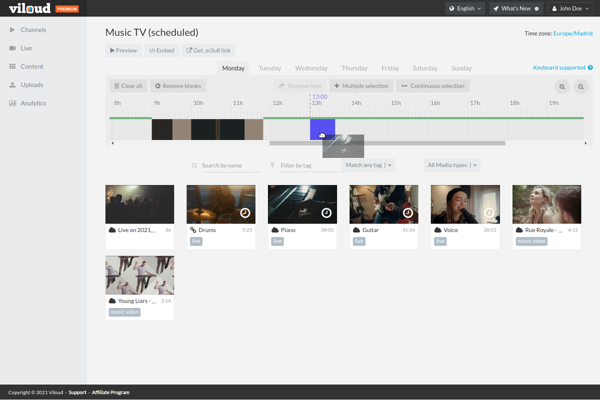 Scheduler for premade content